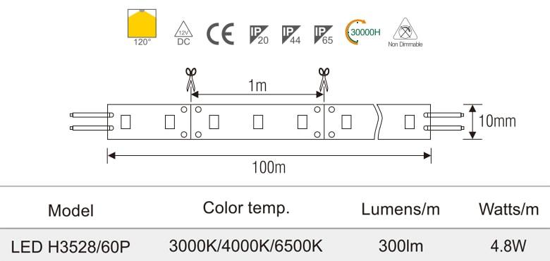 H3528/60P - Đèn LED dây 220V mặt trắng, nhựa chống cháy, 60 mắt, 4.8W/m, IP65, cuộn 50m
