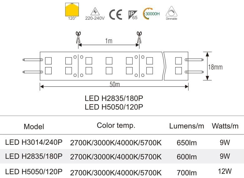 H5050/120P - Đèn LED dây đôi 220V mặt trắng, nhựa chống cháy, 120 mắt, 12W/m, IP65, cuộn 50m