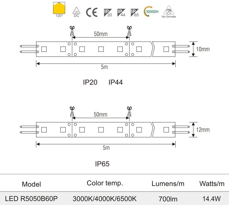 R5050/60P - Đèn LED dây 12V mặt vàng, nhựa chống cháy, 60 mắt, 14.4W/m, IP20, IP44, IP65, cuộn 5m