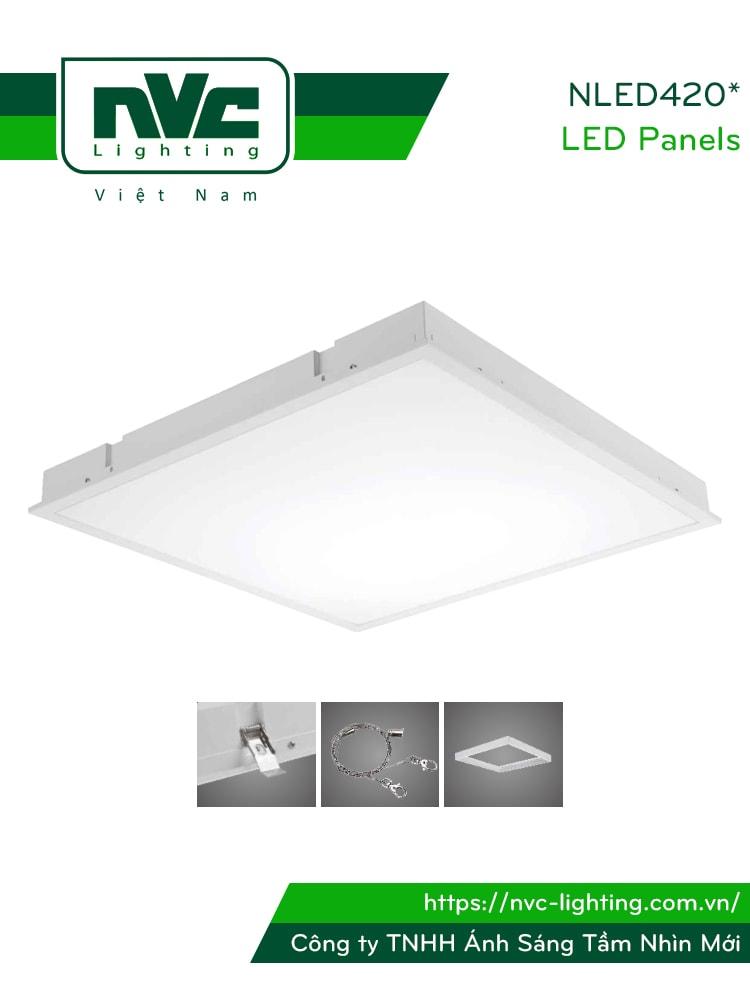 NLED420* - Đèn LED panel phẳng, góc chiếu 110°, khung thép tổng hợp, sơn tĩnh điện chống gỉ, lắp nổi âm trần