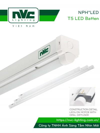 NPH*LED - Bộ đèn tuýp LED SIÊU SÁNG, công suất lớn từ 30W đến 75W, chóa chữ V phản quang, chấn lưu Osram