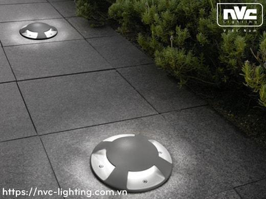 NELED4212 3W 4W - Đèn LED âm đất hắt sàn đa hướng IP67, thân nhôm đúc, mặt inox 316, kính cường lực 8mm, chịu lực tối đa 2000kg, Ø60mm