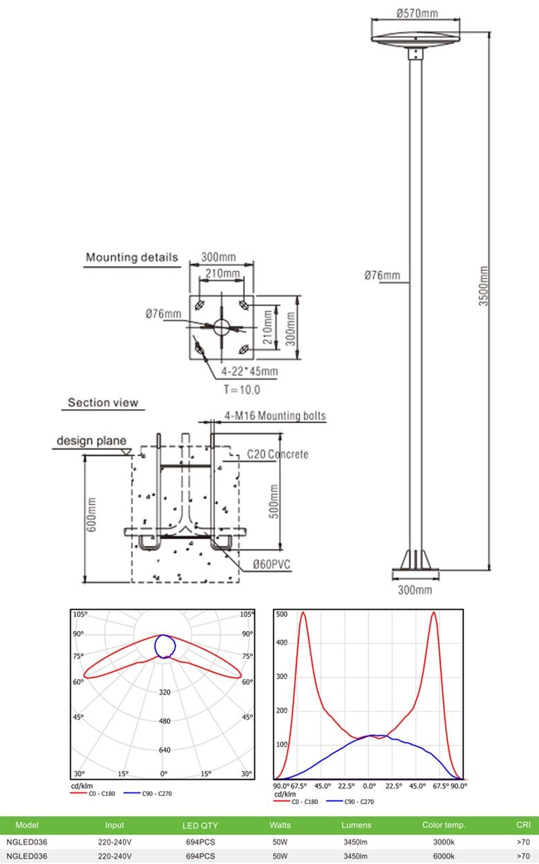 NGLED036 - Đèn cột sân vườn 50W, cao 3.5m, CRI>70, chip EDISON, IP55, thân bằng nhôm đúc & thép sơn tĩnh điện chống oxy hóa & ăn mòn; bộ khuếch tán PMMA cao cấp truyền dẫn ánh sáng & chống lóa, ngăn tia cực tím, tạo độ chói thấp