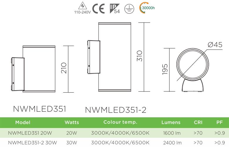 NWMLED351 - Đèn LED gắn tường ngoài trời