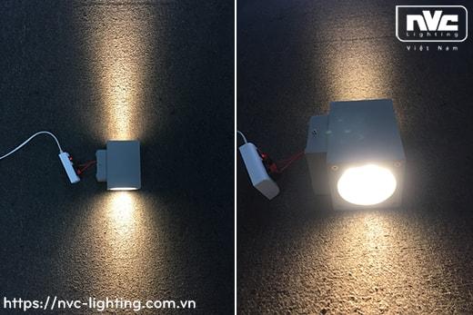 NWLED5513 7.5W 14.5W – Đèn LED surface wall light gắn tường IP54 25° mặt vuông, chiếu 1 đầu hoặc 2 đầu, chip Cree, thân nhôm đúc, kính cường lực trong