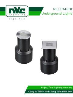 NELED4201 1w - Đèn âm đất chiếu rọi thân nhôm đúc, mặt inox 316, kính cường lực 5mm, chip Cree, chịu lực tối đa 113kg Ø10mm, IP67