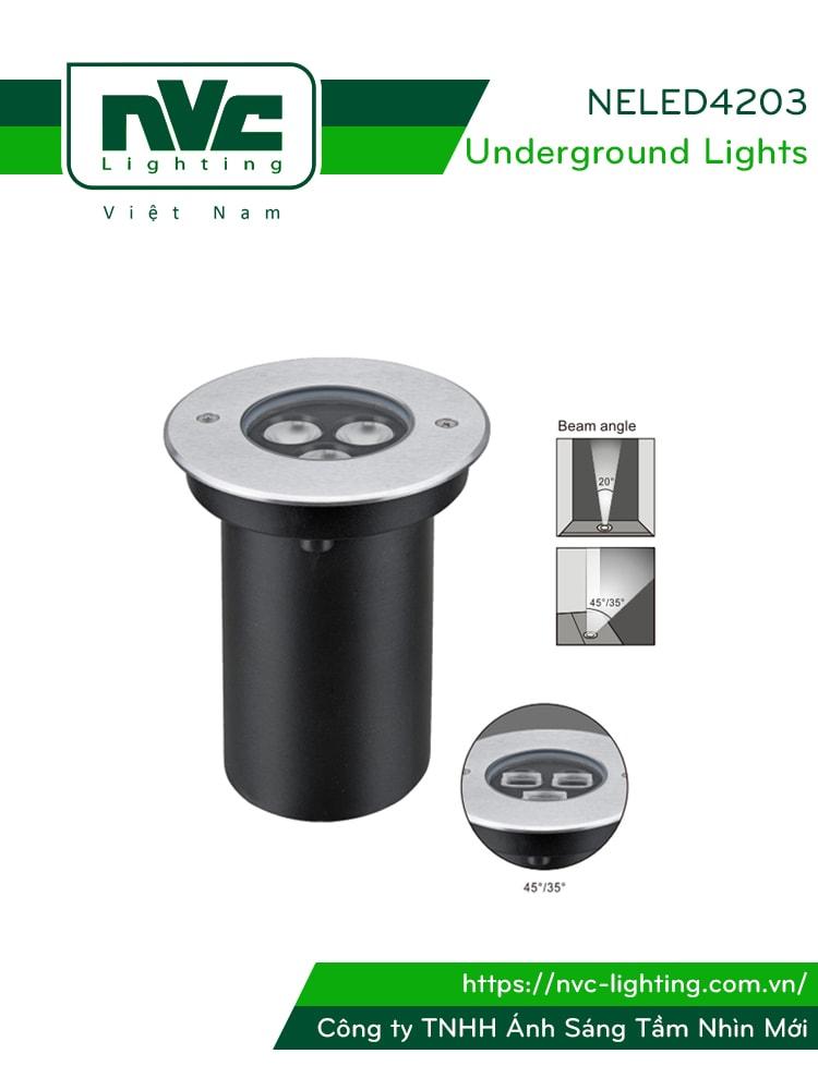 NELED4203 6w - Đèn LED âm đất chiếu rọi chip Cree, mặt inox 316, kính cường lực 8mm, chịu lực tối đa 2000kg Ø60mm, IP67