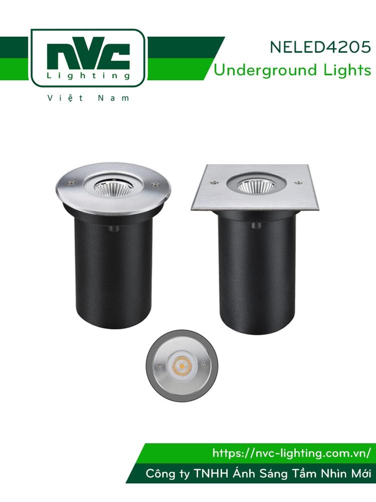 Đèn LED âm đất NELED4205 6.5W chiếu rọi chip COB Sharp, thân nhôm đúc, mặt inox 316, kính cường lực 8mm, chịu lực tối đa 2000kg, IP67