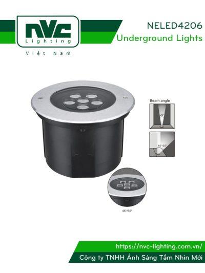 NELED4206 18W - Đèn LED âm đất chiếu rọi đa góc (20°, 35° và 45°), thân nhôm đúc, mặt inox 316, kính cường lực 8mm, chip NICHIA, IP67