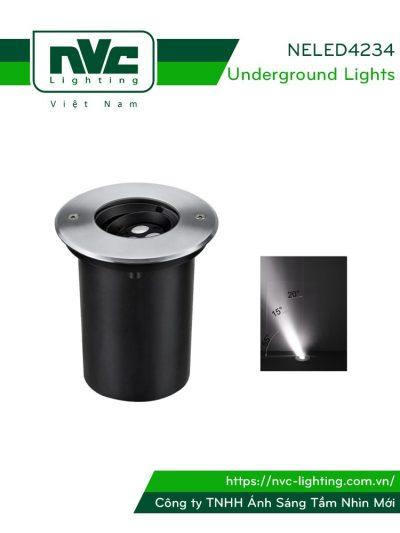 NELED4234 3w - Đèn chôn đất chiếu rọi đa góc, chip Osram, thân nhôm đúc, mặt inox 316, kính cường lực 8mm, chịu lực tối đa 1226kg Ø10mm IP67
