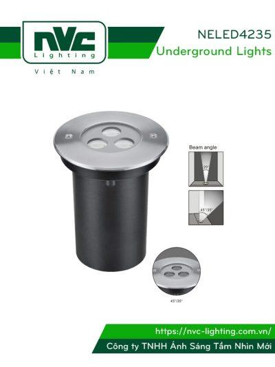 NELED4235 3.5w - Đèn chôn đất chiếu rọi, chip Osram, thân nhôm đúc, mặt inox 316, kính cường lực 8mm, chịu lực tối đa 2000kg Ø16mm IP67