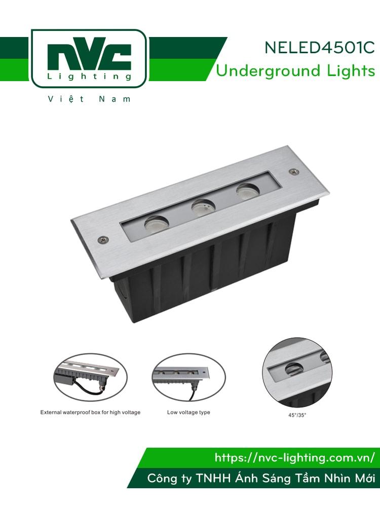 NELED4501C 7W - Đèn LED âm đất dẫn hướng, chip Osram, thân nhôm đúc nguyên khối, kính cường lực 8mm, chịu lực tối đa 2000kg Ø60mm, IP67