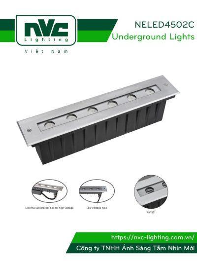 NELED4502C 12w - Đèn LED âm đất dẫn hướng, chip Osram, mặt inox 316, kính cường lực 8mm, chịu lực tối đa 2000kg Ø60mm, IP67
