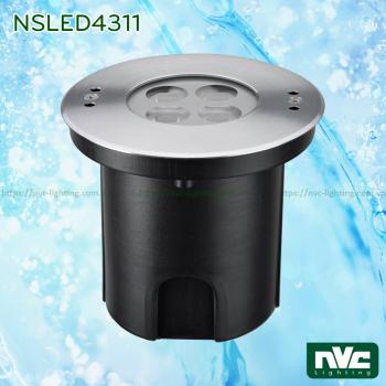 NSLED4311 9W 15W - Đèn âm nước thân inox 316, kính cường lực 7mm chịu lực max 1693kg Ø60mm, đệm cao su EDPM kín nước, chip Osram, IP68