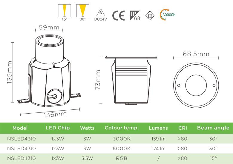 NSLED4310 3W 3.5W - Đèn LED âm nước thân inox 316, kính cường lực 7mm, đệm cao su EDPM kín nước, chip Osram, IP68