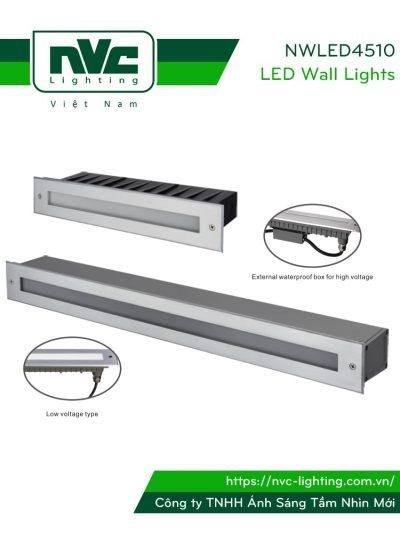 NWLED4510 2.5W-14W - Đèn LED dẫn hướng chiếu lối đi ngoài trời hình chữ nhật, IP65, thân nhôm đúc cao cấp, vành inox 316 không han gỉ, kính cường lực 6mm, Ra > 80