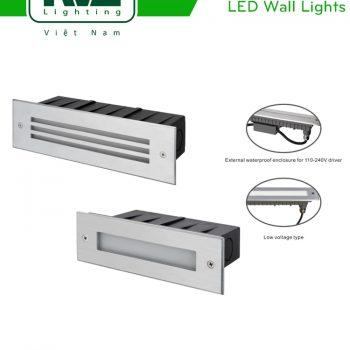 NWLED4523 NWLED4524 - Đèn ram dốc 5W-7.5W IP65 đạt chuẩn CE, hình chữ nhật, mặt kính mờ hoặc xẻ rãnh, thân nhôm đúc, vành inox 304, vỏ hộp ABS chịu áp lực khi thi công âm tường, Ra > 80, tuổi thọ 30.000h