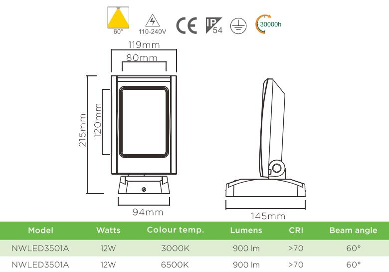 NWLED3501 12W - Đèn LED surface wall light gắn tường IP54 60° chiếu sáng cổng ra vào, thân nhôm đúc, kính cường lực mờ chống chói