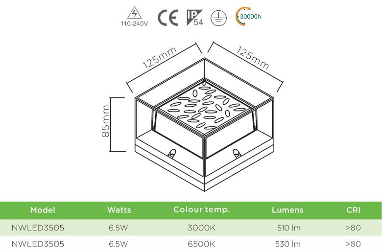 NWLED3505 3W - Đèn LED gắn tường COB chiếu hành lang, thân nhôm đúc nguyên khối, lens kính cường lực IP55