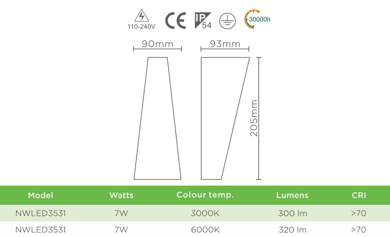 NWLED3531 7W - Đèn LED gắn tường chiếu 2 đầu, dùng hành lang, ban công, thân nhôm đúc, kính cường lực trong IP54