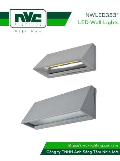 NWLED3533 COB 5W, NWLED3534 SMD 5W - Đèn LED gắn tường chiếu hành lang, ban công, thân nhôm đúc, kính cường lực mờ chống chói, IP54 sử dụng được ngoài trời