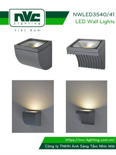 NWLED3540 10W, NWLED3541 11.7W - Đèn LED surface wall light gắn tường IP54 chiếu sáng 1 đầu góc chiếu 85°, chip COB Bridgelux, thân nhôm đúc, kính cường lực mờ
