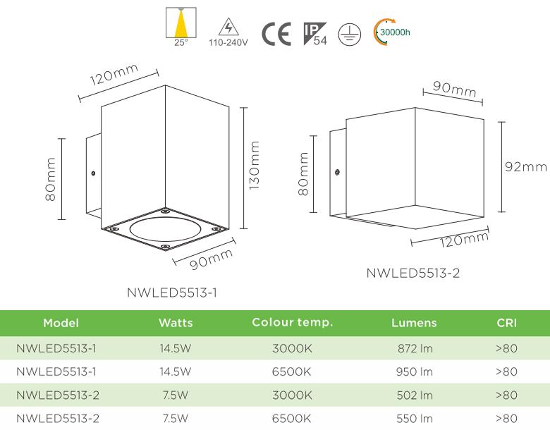 NWLED5513 7.5W 14.5W - Đèn LED surface wall light gắn tường IP54 25° mặt vuông, chiếu 1 đầu hoặc 2 đầu, chip Cree, thân nhôm đúc, kính cường lực trong