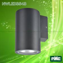 NWLED3543 9.4W, NWLED3544 18.5W - Đèn LED gắn tường 45° IP54, chiếu 1 đầu hoặc 2 đầu, chip COB Bridgelux, thân nhôm đúc, kính cường lực trong