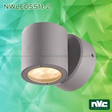 Đèn LED gắn tường surface wall light 25° IP54 chiếu 1 đầu hoặc 2 đầu, chip Cree, dùng hành lang, ban công, thân nhôm đúc, kính cường lực trong