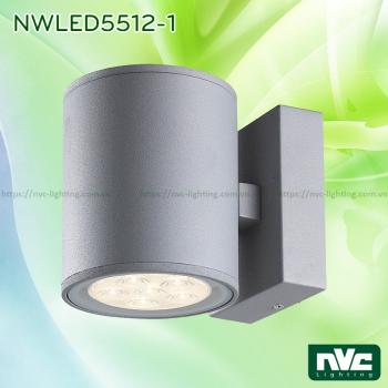 NWLED5512 7.5W 14.5W - Đèn LED surface wall light gắn tường IP54 25° mặt tròn, chiếu 1 đầu hoặc 2 đầu, chip Cree, thân nhôm đúc, kính cường lực trong