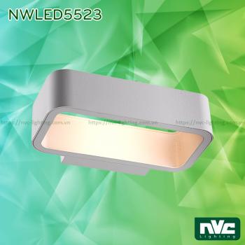 NWLED5523 9W - Đèn LED gắn tường surface wall light COB Bridgelux IP54, chiếu 2 đầu khoảng cách ngắn, dùng hành lang, ban công, thân nhôm đúc, kính cường lực trong