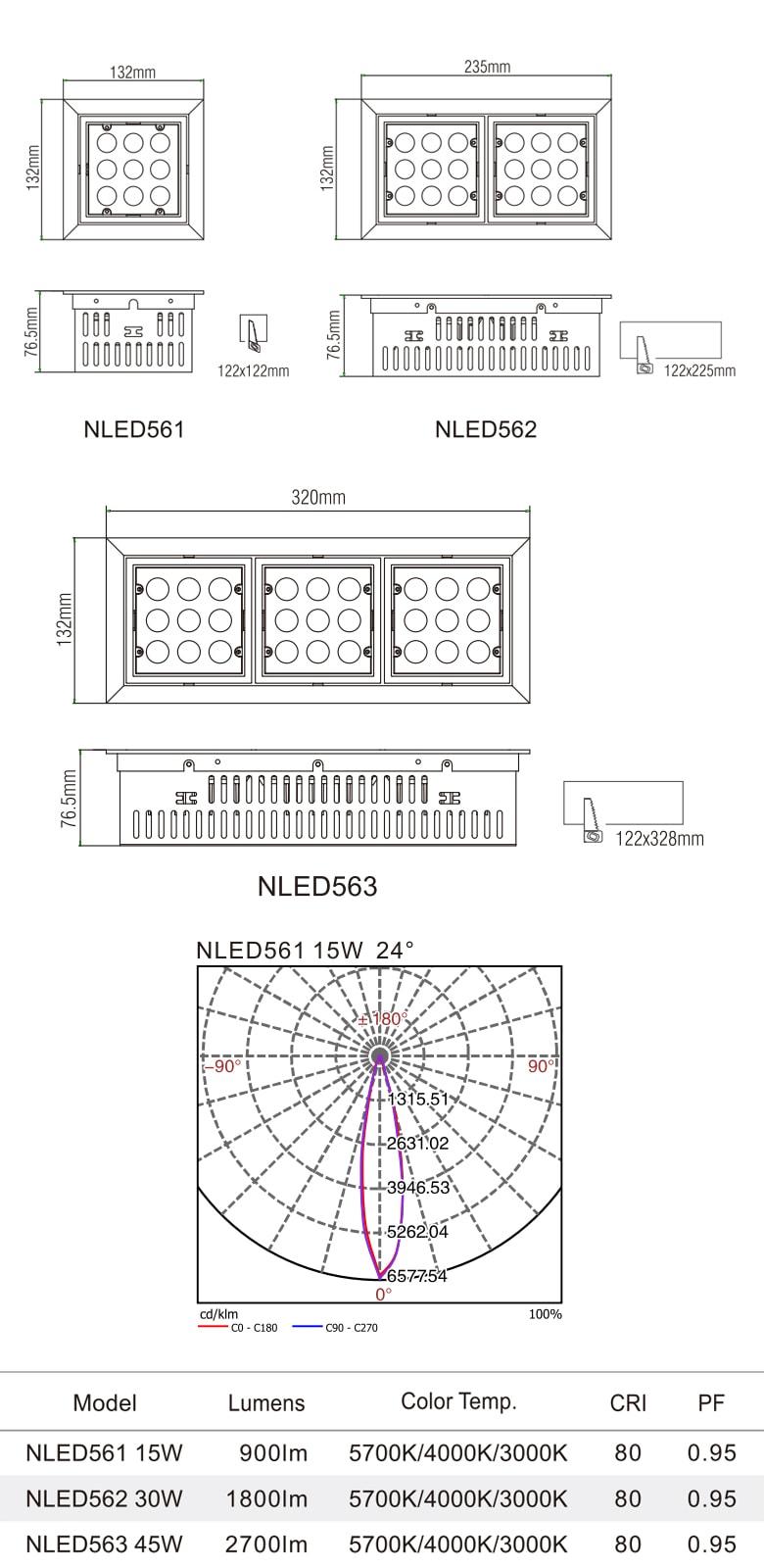 NLED561 NLED561 NLED563 - Đèn multiple light vành lật, chóa vuông