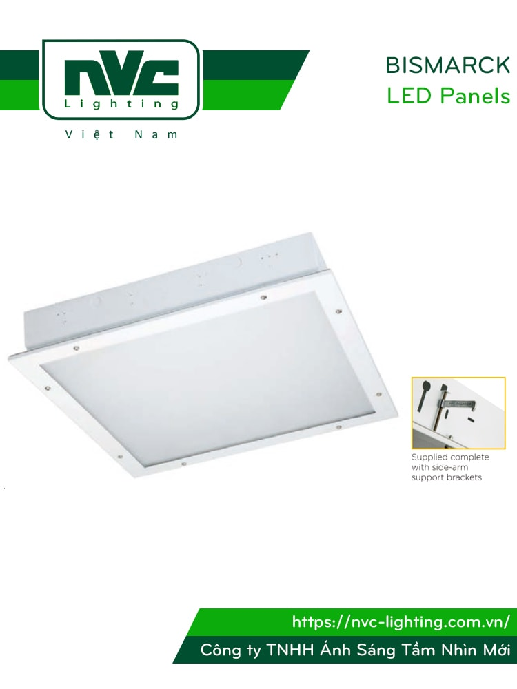 BISMARCK NBI3400 - Đèn LED panel 600x600 góc chiếu 110° mặt phẳng, thân thép sơn tĩnh điện chống gỉ, IP54, lắp âm