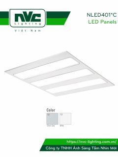 NLED401*C - Đèn LED panel mỏng, mặt phẳng 3 bóng, góc chiếu 90°, khung thép tổng hợp, sơn tĩnh điện chống gỉ, lắp âm hoặc nổi
