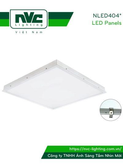 NLED404*C - Đèn LED panel phẳng, góc chiếu 110°, khung nhôm tổng hợp, sơn tĩnh điện chống gỉ, lắp âm hoặc nổi
