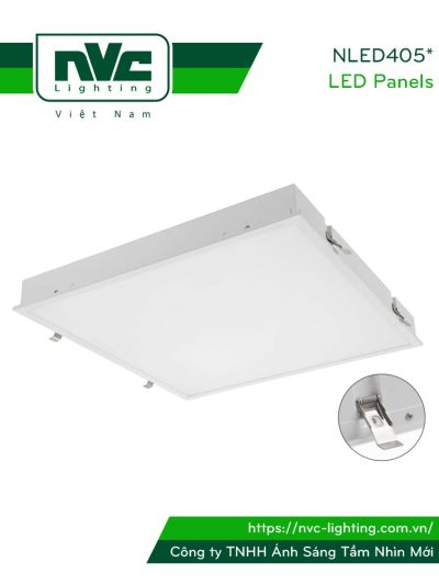 NLED405*C - Đèn LED panel phẳng, góc chiếu 110°, khung nhôm tổng hợp, sơn tĩnh điện chống gỉ, lắp nổi hoặc treo
