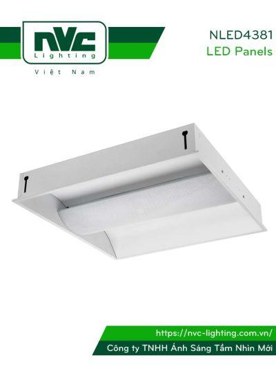 NLED4381 - Đèn LED panel ẩn bóng chống chói dạng loa, góc chiếu 110°, khung thép tổng hợp sơn tĩnh điện chống gỉ, lắp âm trần