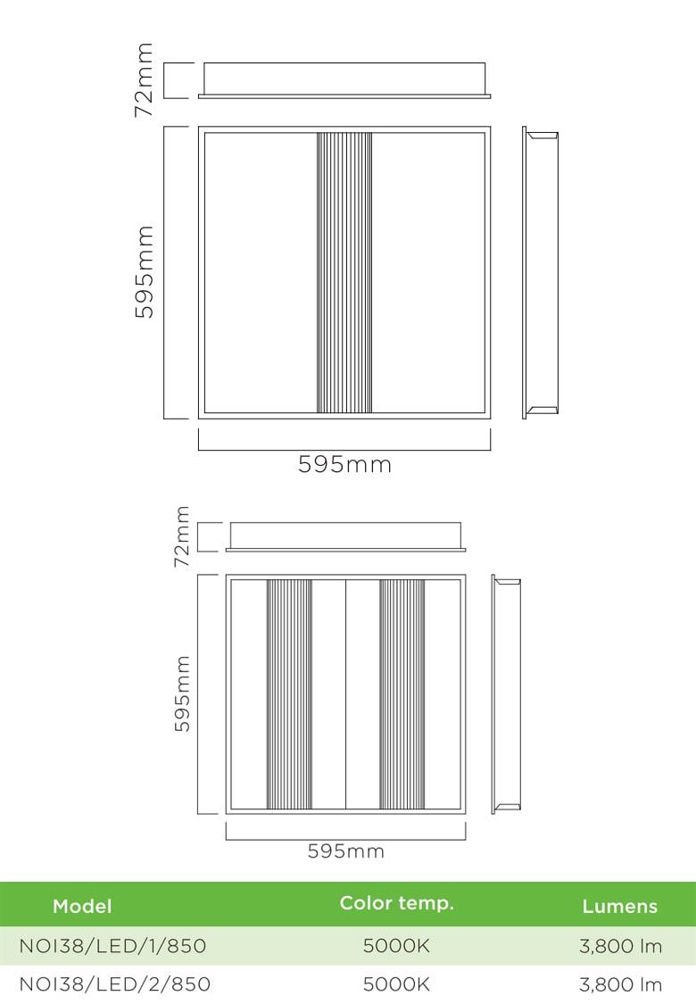 ORION NOI38 - Đèn LED panel ẩn bóng chống chói, góc chiếu 110°, khung nhôm tổng hợp sơn tĩnh điện chống gỉ, lắp âm trần