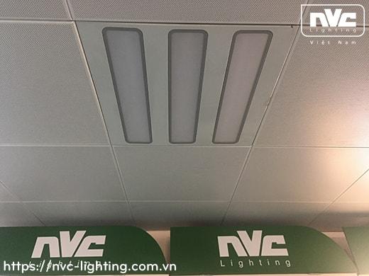 NLED401*C – Đèn LED panel mỏng, mặt phẳng 3 bóng, góc chiếu 90°, khung thép tổng hợp, sơn tĩnh điện chống gỉ, lắp âm hoặc nổi