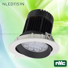 NLED1151N 30W (SMD), NLED1152N 35W 50W (COB) - Đèn spotlight LED âm trần nguyên khối, mặt lõm, vành xoay 60°, vân tán quang, tản nhiệt dạng lá thép đàn hồi chống gỉ