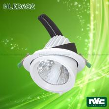 NLED602 40W - Đèn rọi âm trần LED COB nguyên khối, mặt lõm, góc kéo mở 45°, chóa giật cấp, vân tán quang, tản nhiệt nhôm đúc