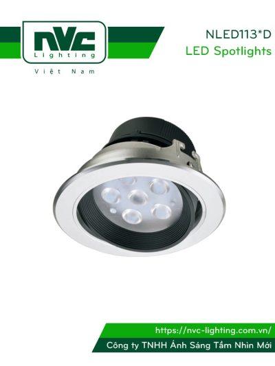 NLED1134D 4W, NLED1136D 7W, NLED1138D 9W - Đèn rọi âm trần LED SMD nguyên khối, mặt lõm, vành xoay 60°, vân tán quang, chấn lưu liền