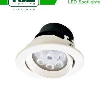 NLED1144D 4W, NLED1146D 7W, NLED1148D 9W - Đèn rọi âm trần LED SMD nguyên khối, mặt lõm, vành xoay 60°, vân tán quang, chấn lưu liền
