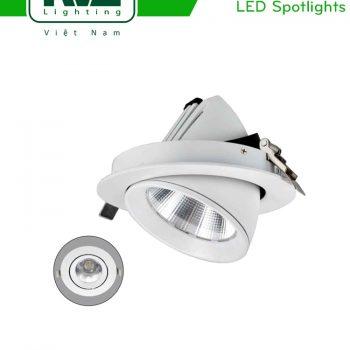 NLED601 - Đèn rọi âm trần chiếu rọi LED COB nguyên khối, mặt lõm, góc kéo mở 45°, vân tán quang, tản nhiệt nhôm đúc