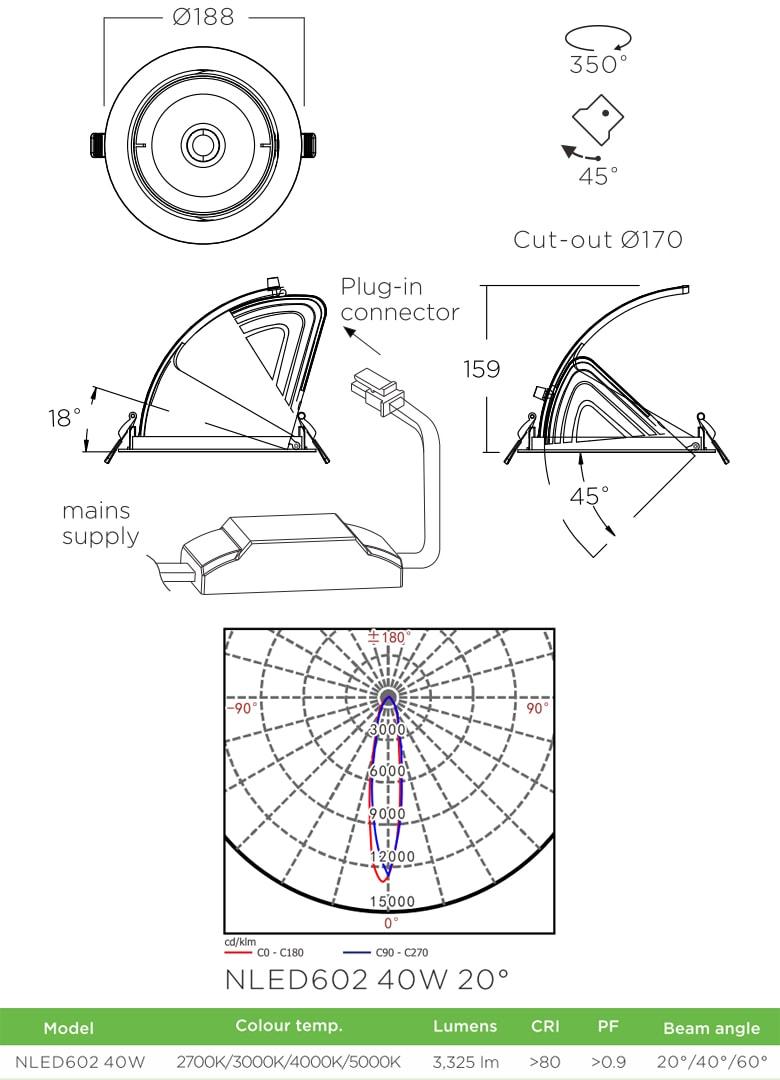 NLED602 - Đèn rọi âm trần COB nguyên khối, mặt lõm, góc kéo mở 45°, chóa giật cấp, vân tán quang, tản nhiệt nhôm đúc