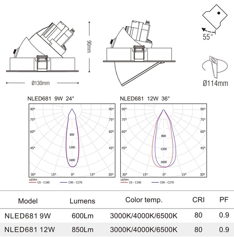 NLED681 9W 12W - Đèn rọi âm trần chiếu rọi COB nguyên khối, mặt lõm, góc kéo mở 55°, vân tán quang, tản nhiệt nhôm đúc