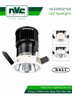 NLED8023NA 9W, NLED8024NA 12W - Đèn rọi âm trần LED COB nguyên khối CAO CẤP, mặt lõm sâu ẩn nguồn sáng, tai đèn dạng lá thép đàn hồi chống gỉ, chấn lưu rời, tương thích DALI