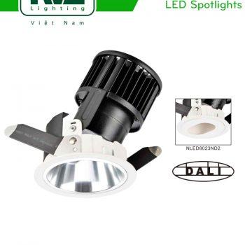 NLED8024ND 9W, NLED8024ND 12W - Đèn rọi LED COB nguyên khối CAO CẤP, mặt lõm sâu ẩn nguồn sáng, chỉnh hướng chiếu 30°, chấn lưu rời, tương thích DALI