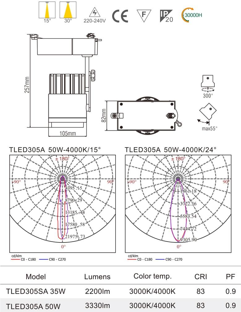 TLED305 - Đèn rọi ray COB liền khối, thân nhôm đúc, sơn tĩnh điện, vân tán sáng