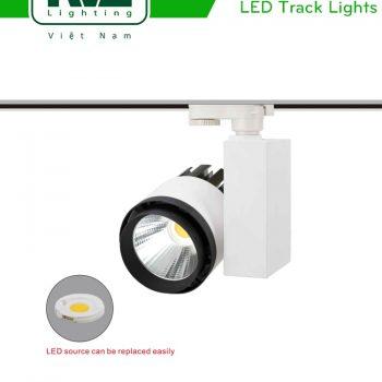 TLED306*-M - Đèn rọi ray COB liền khối, chấn lưu dọc, thân nhôm đúc, sơn tĩnh điện, vân tán sáng